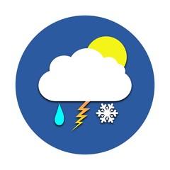Sun, cloud, rain, snow, thunder circle icon