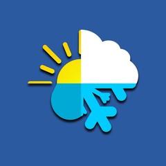 Sun, cloud, rain, snow on blue background icon