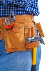 hammer nippers and pliers in toolbelt