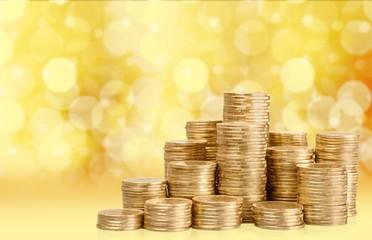 Money. British coins arranged on a white background