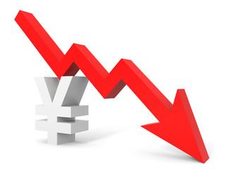Graph down yena sign arrow.