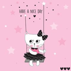 swinging white cat vector illustration