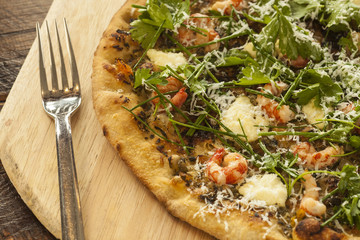fresh baked ridgeback shrimp pizza