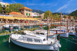 Boats in Port Soller town on coast of Majorca island, Spain - 80879331