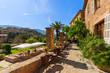 Leinwandbild Motiv Terrace of hotel in Deia mountain village, Majorca island