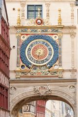 Gros Horloge street with astronomical clock tower, Rouen
