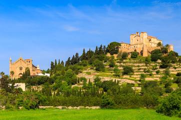 Monastery built on top of a hill in Arta village, Majorca island