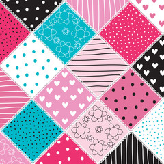 colorful patchwork pattern vector illustration
