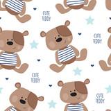 seamless teddy bear pattern vector illustration - 80879972