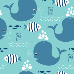 seamless whale and fish pattern vector illustration