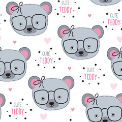 seamless cute teddy pattern vector illustration