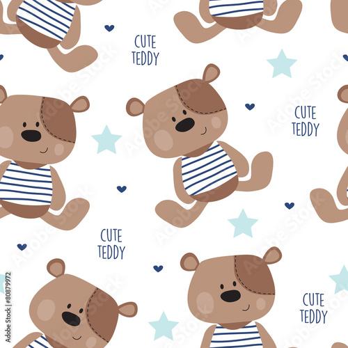 Tapeta seamless teddy bear pattern vector illustration