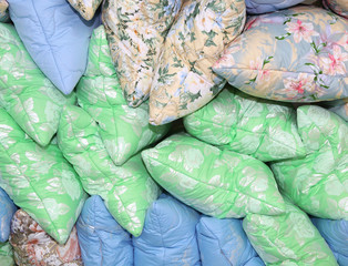 Colorful pillows, a lot of