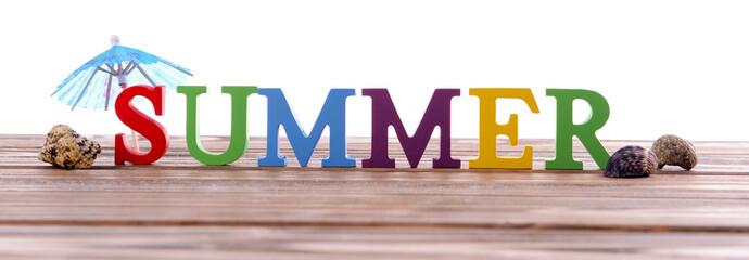 Word summer on wooden berth