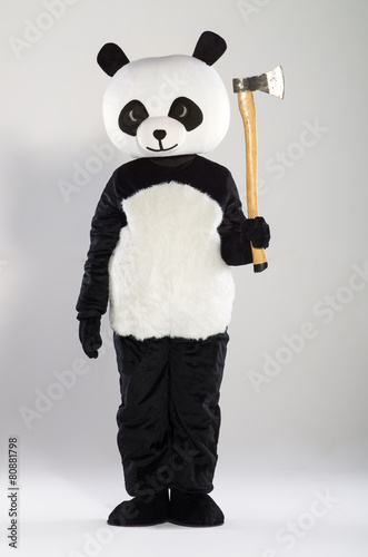 Poster Panda Man in panda costume over white background