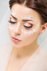 Portrait of a bride  with beautiful makeup