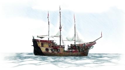Statek piracki animacja 3d piraci