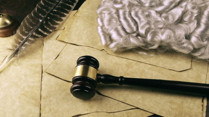 Judge Takes Robe Wig and Gavel