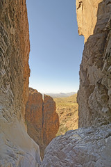 Looking Out Into the Desert from a Remote Canyon