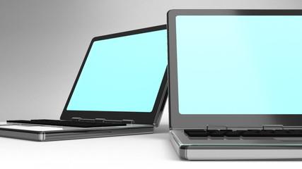 Closeup Of Laptops On White Background