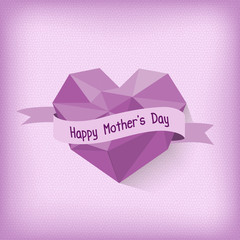 Happy Mother day with purple origami heart