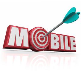 Mobile Word Arrow Targeting Digital Advertising Online Ecommerce