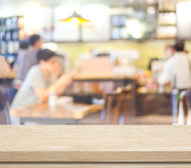 Blur cafe with people and bokeh light background