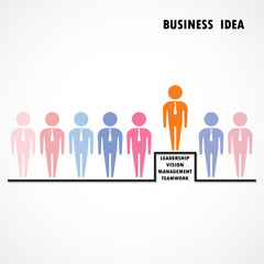 Businessman standing out from the crowd. Business  idea and lead