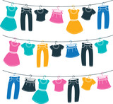 various clothes on washing line
