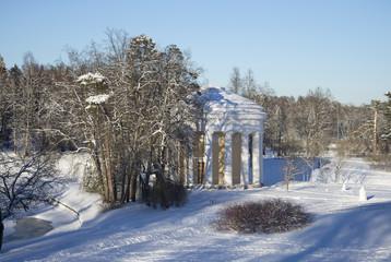 У храма Любви и Дружбы зимним днем. Павловский дворцовый парк