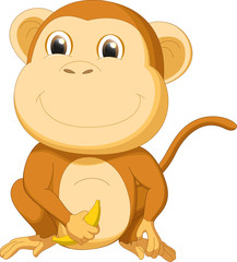 cute mokey with banana cartoon