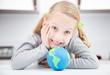 smile girl with earth globe
