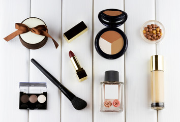 Fashion woman objects. Makeup and cosmetic set