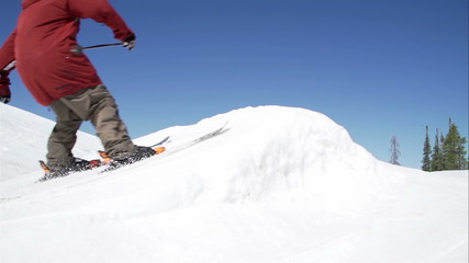 Slow Motion Skier Jumping Off Kicker Doing Extreme Trick