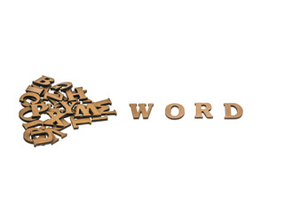Word  word next to a pile of other letters