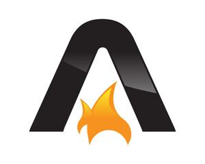 letter A logo fire