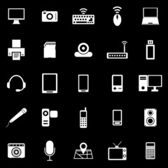 Gadget icons on black background