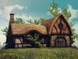 Baśniowy domek z bluszczem na słonecznej łące - 80891101