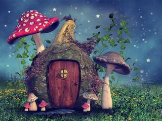 Baśniowa chatka z kolorowymi grzybami na tle nocnego nieba