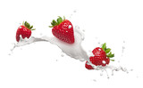 strawberries with milk splash