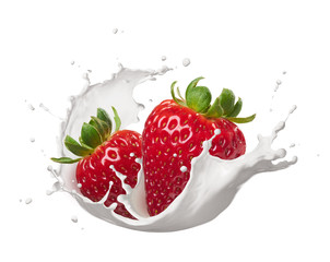 milk splash with strawberries