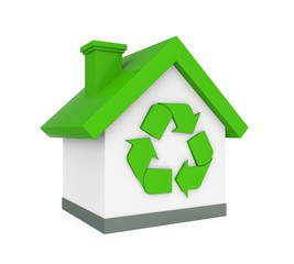 House with Recycle Symbol