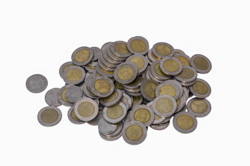 Thai Baht Coins isolated on white