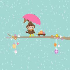Bunny Umbrella Handcart Easter Eggs Retro