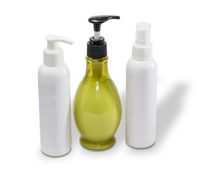 Three bottles with cosmetics