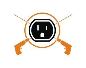 electricity drill plugs logo icon vector