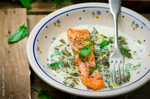 Papiers peints Assortiment salmon with sauce from a sorrel.