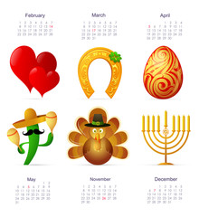 Holiday symbols with calendar
