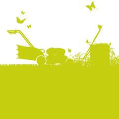 Rasenmäher und Gartenarbeit
