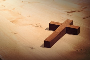 Composite image of wooden cross
